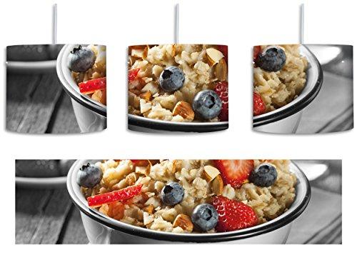 Süßes Früchte Müsli schwarz/weiß inkl. Lampenfassung E27, Lampe mit Motivdruck, tolle Deckenlampe, Hängelampe, Pendelleuchte - Durchmesser 30cm - Dekoration mit Licht ideal für Wohnzimmer, Kinderzimmer, Schlafzimmer (Faser Müsli)