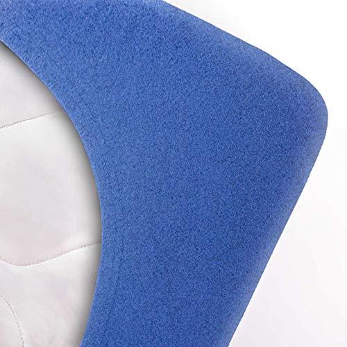 #7 Etérea Teddy Flausch Kinder-Spannbettlaken, Spannbetttuch, Bettlaken, 18 Farben, 60×120 cm – 70×140 cm, Blau - 2