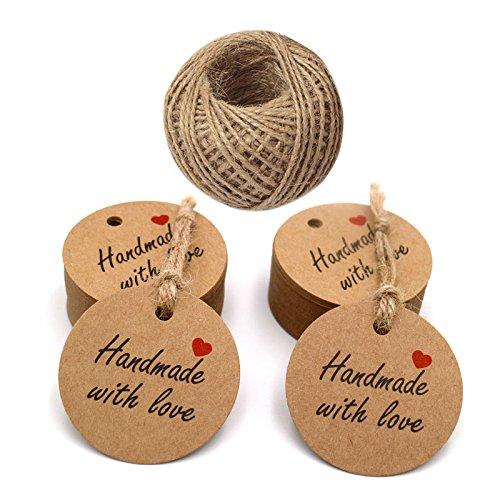 100 piezas marrón papel Kraft etiquetas 'Handmade with love' impresa etiquetas con 100 pies yute Twine