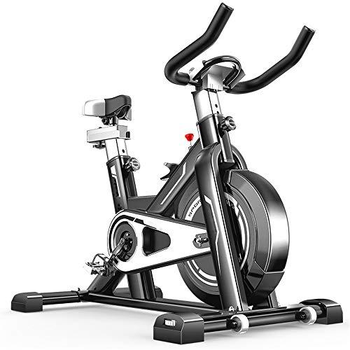 Chengzuoqing Indoorbike Heimtrainer Cardio Workout Fahrradtrainer Radsport im Hallenbereich Fahrrad Riemenantrieb Feststellrad Übungsfahrräder Aerobic Trainer ideal, Metall, Schwarz, Einheitsgröße