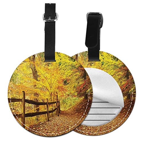 Round Travel Luggage Tags,Autumn Season Fall Trees Leaves On Pathway to Forest with Fence Photo,Leather Baggage Tag(1 Piece)