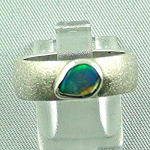 Massiver Sterling Silberring mit Top Black Crystal Opal 0,75 ct