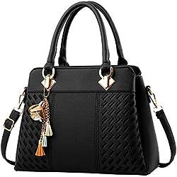 Leap de G Mujer Bolso shopper–Bolso elegante, Shopper cremallera Mujeres Bolsos, grande hombro mujeres bolso, Negro