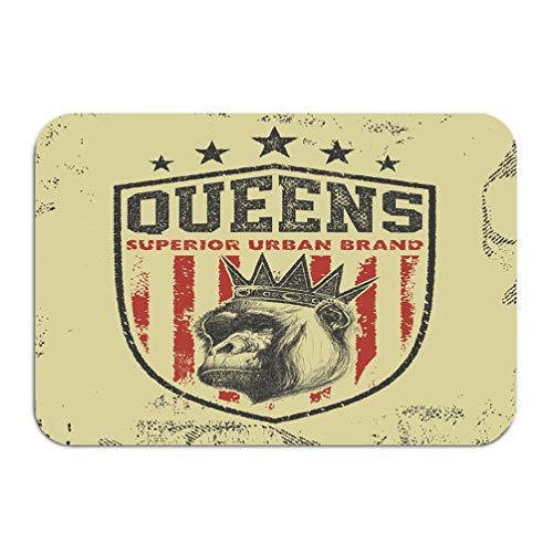 iday Rectangle Non-Slip Rubber Mat Multicolor 23.6 by 15.7 Inch Queens Typography ()