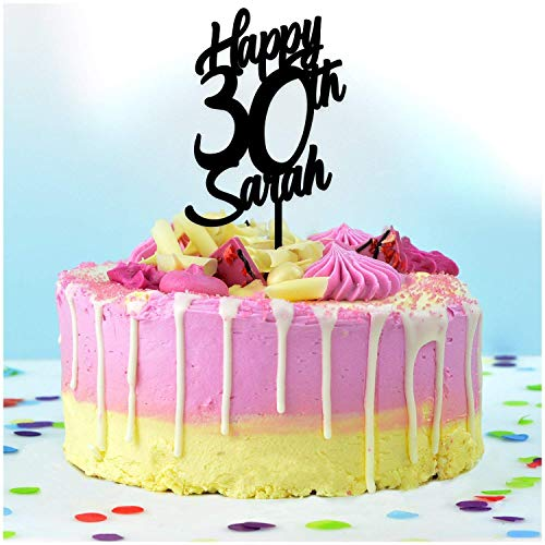 Happy Birthday Cake Topper PERSONALISED Cake Decoration Topper - Personalise with ANY NAME and with ANY AGE - Food Safe Cake Decoration - Made from Strong Acrylic - Different Colours