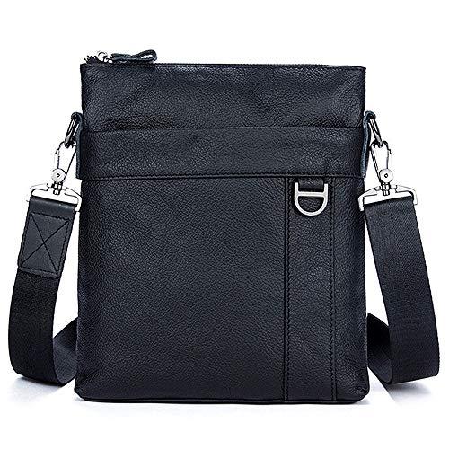 Im Freien Schwarz Mode Leder Herrentasche Casual Bag Business Herren Messenger Bag Vertikalschnitt erste Schicht Leder Herren Umhängetasche Europa und Amerika Herrentasche Flip Herrentasche -