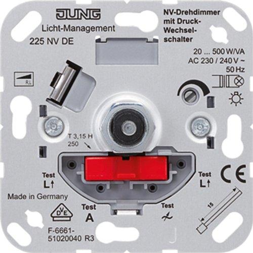 Jung 225NVDE NV-Drehdimmer mit Druck-Wechselschalter