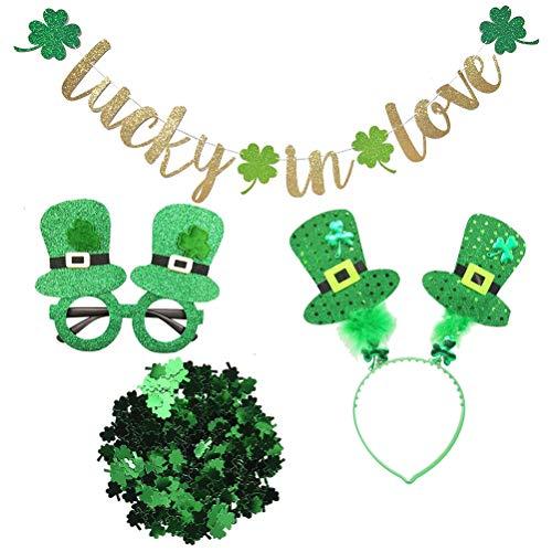 Amosfun St. Patrick's Tag Girlande mit Haarreifen Brille Konfetti für St. Patrick's Party Dekoration (Tag-brille Patricks St)