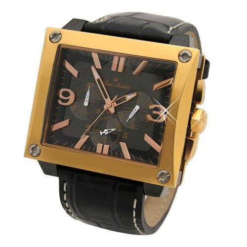 Baden Herren Chronograph von Louis Ardens gold plattiert mit Echt Leder Band (Leder Arden)
