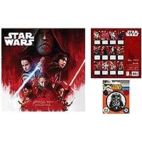 Set: Star Wars, Episodio 8 Los Últimos Jedi, Calendario Oficial 2019 (30x30 cm) con 1x Vinilo Decorativo Pegatina Autoadhesivo (12x10 cm)
