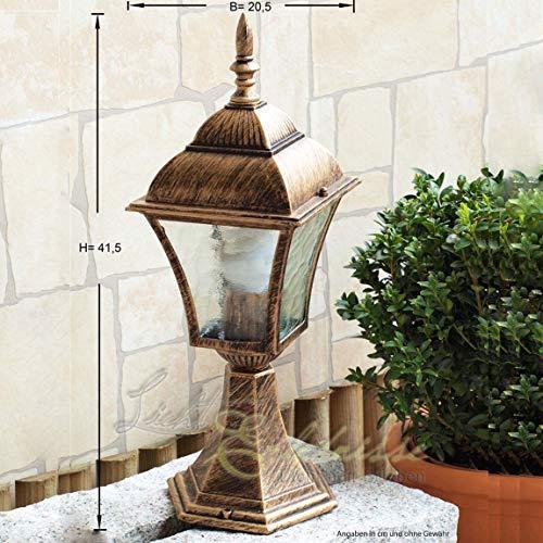 Sockelleuchte im Antik-Look aus Aluguß IP43 E27 230 Volt Außenleuchte Gartenleuchte Beleuchtung...