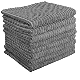 Gryeer 8er-Set Bambus-Mikrofaser Geschirrtücher, saugstark und dicke Küchenhandtücher, einseitig gerippt einseitig glatt Trockentücher,45x65cm, Grau