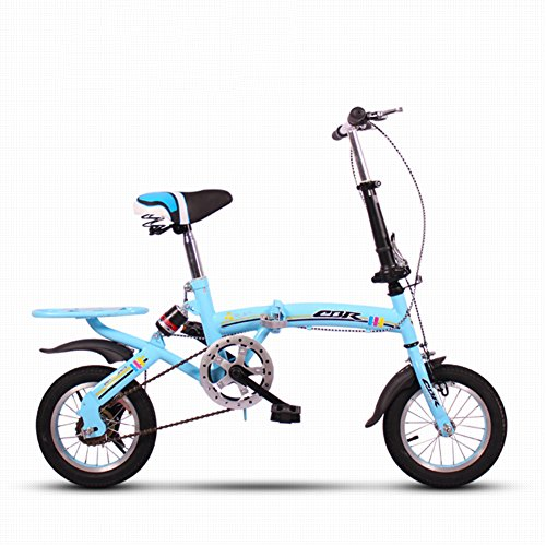 YEARLY Kinderfahrrad, Schüler klappräder Lightweight Mini Kleinen tragbaren Stoßdämpfende Männlich und weiblich Klappräder-Blau 12inch
