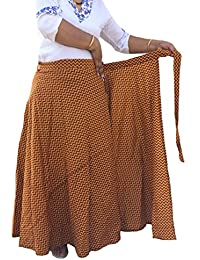Indi Bargain Women's Cambric Cotton Wrap Around Full-Length Skirt – 38 Inch Length