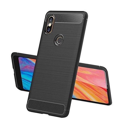 Funda Xiaomi Mi MAX 3 TopACE Carcasa Protectora Back Soft Cover Absorción de Choque Resistente y diseño de Fibra de Carbono para Xiaomi Mi MAX 3 (Negro)
