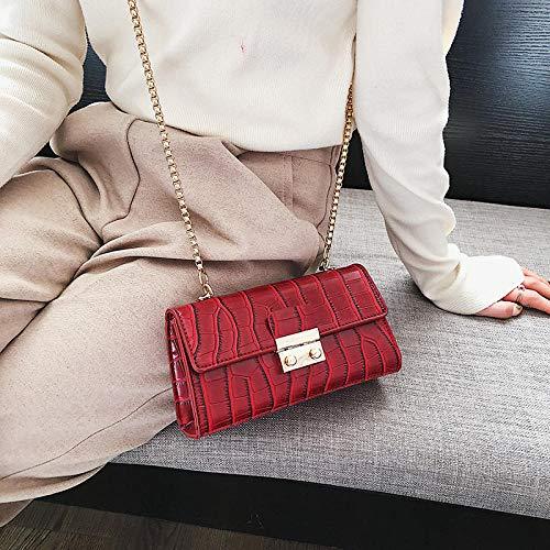 YZJLQML Lady bagsFashion einfache Schulter Umhängetasche Kette Tasche Retro kleine quadratische Tasche @red