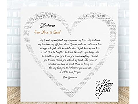Personalised Romantic Gift - Our Love is Real. Ceramic Plaque. Boxed. Perfect for Birthdays, Valentine's Day, Anniversaries, Weddings & Special Occasions. Personalised details