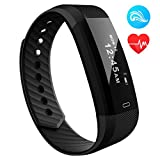 OMORC [Upgraded Version]Fitness Tracker with Heart Rate Monitor, Bluetooth 4.0 Waterproof Smart Fitness Wristband Bracelet Sport Pedometer 24-Hour Auto Activity Tracker with Alarm, Step Tracker, Calorie Counter, Sleep Monitor for iOS iPhone Android Smart Phone -Black