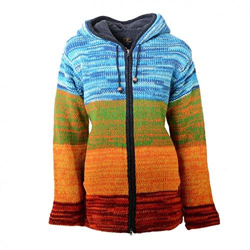 Kunst und Magie Damen Rainbow Strickjacke Goa Jacke Wolle mit Zipfelkapuze, Größe:XL, Farbe:Mehrfarbig - Kunst Snowboard