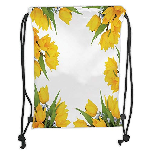 Juzijiang Drawstring Sack Backpacks Bags,Yellow Flower,Abstract Frame Yellow Tulip and Blue Forget Me Knot Blooms Bouquets Decorative,Mustard Fern Green Soft Satin,Adjustable. Mustard Cord