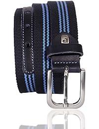 Sport-Gürtel Herren / Gürtel Herren Pierre Cardin, Textil-Gürtel mit Rindleder in dunkelblau / hellblau
