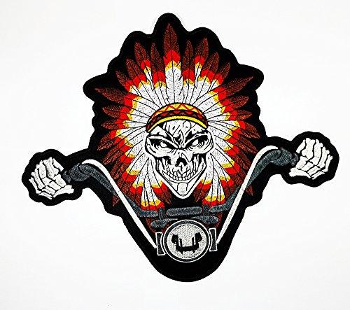 Big Indian Head Kleid SKULL Patch Weste/Jacke Biker Patch Motorrad Fahrer Biker Tattoo Jacket T-shirt Patch Sew Iron on gesticktes Schild (Kleider Indian Head)
