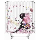 Beddingleer Schmetterling und Mädchen Rosa Duschvorhang Verdicken Natürliche Serie Anti-Schimmel Wasserdichte 180 x 180 cm mit 12 Vorhangringe