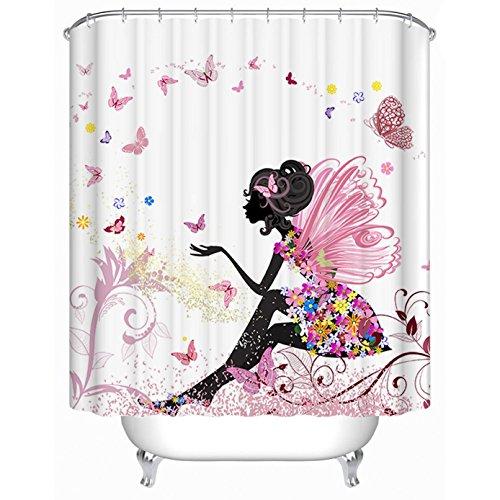 Duschvorhang Rosa (Beddingleer Schmetterling und Mädchen Rosa Duschvorhang Verdicken Natürliche Serie Anti-Schimmel Wasserdichte 180 x 180 cm mit 12 Vorhangringe)