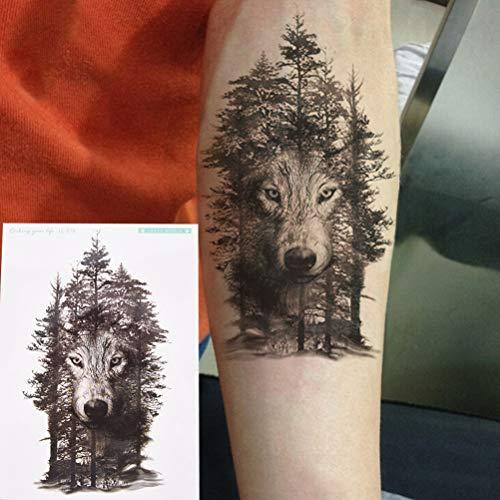 Z Lamp 1pc Wasserdichte Temporäre Tattoo Aufkleber Brust Uhr Wolf Wald Tatto Aufkleber Flash Tatoo Gefälschte Tattoos Für Frauen Männer 1