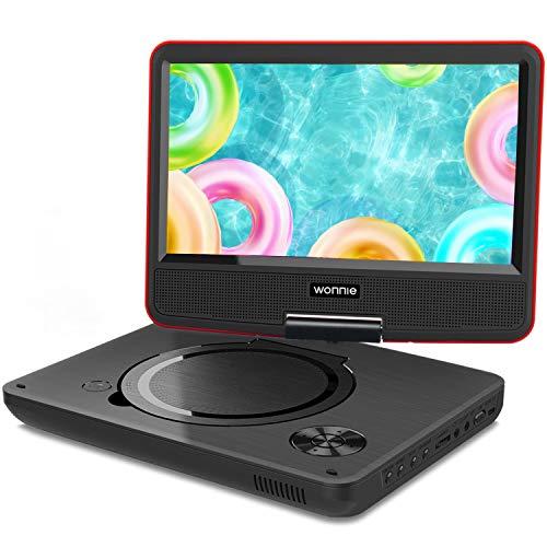 WONNIE 2019 Upgrade 11.5' Lecteur DVD Portable avec écran Rotatif de 9,5' à 270°, Inte Carte SD et Prise USB avec Batterie Rechargeable Formats/RMVB/AVI / MP3 / JPEG, Parfait pour Enfants (Rouge)