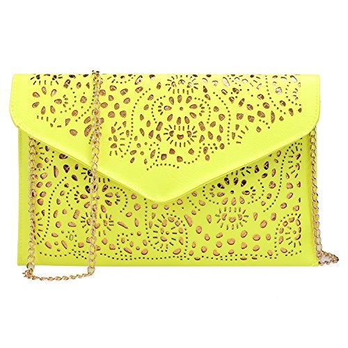 ZEARO Mode Damen Umhängetasche Retro Hollow Floral Hüllenform Cross Body Schulter Tasche Gelb