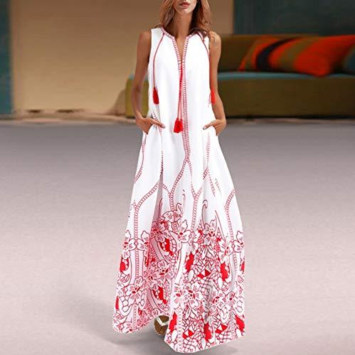 JJHR Kleider Weißes Sommer Strandkleid Damen Plus Size Mode Rotes Baumwoll Boho Kleid Ärmellos Bedrucktes Maxikleid, XL