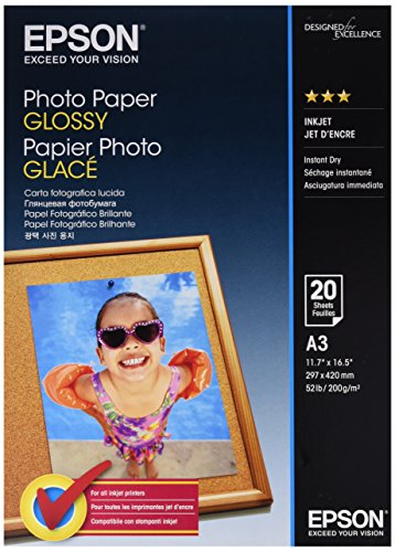 Epson carta fotografica glossy, a3, 20 fogli, bianco