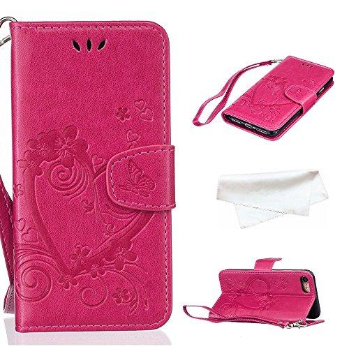 Cover per iPhone 8 / iPhone 7, Vectady Cover Custodia in Pelle a Libro Portafoglio Wallet Magnetica Flip Cuoio Leather Case Protettiva Antiurto Caso con Porta Carte Funzione Cinturino da Polso Disegni Rosa Rosso