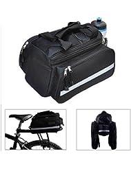 Negro resistente al agua multi función para bicicleta de excursión bicicleta asiento trasero maletero bolsa alforja bolso de mano llevar equipaje mochila