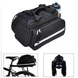 Black Waterproof Multi Function Excursion Cycling Bicycle Bike Rear Seat Trunk Bag Handbag Bag Pannier Carrying Luggage Backpack