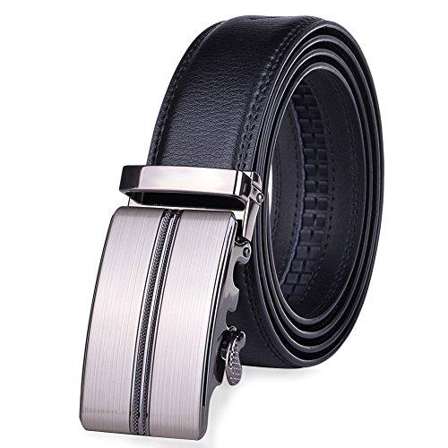 Vbiger Herren Gürtel Ledergürtel Büffelledergürtel mit Automatik Schnalle (Anzug Leder-gürtel)