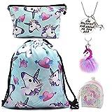 DRESHOW 5 Pack cadeaux de Licorne pour les filles Licorne Cordon Sac à dos/Make Up Bag/Collier/Fluffy Porte-clés/Bracelet ensembles-cadeaux pour la fête de Noël