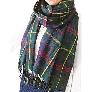Wander Agio Women's Fashion Long Scarves Winter Warm Lattice Large Striped Scarf Shawl Plaid Green