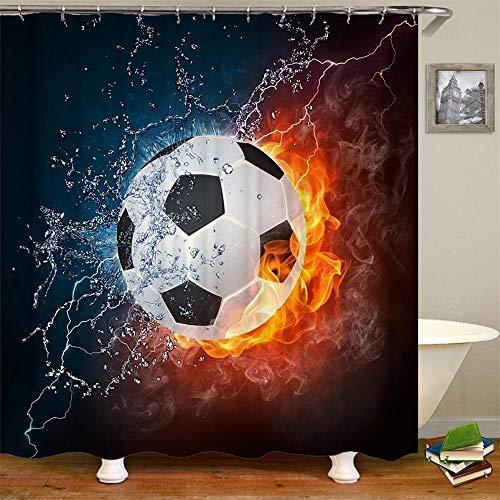 HHIAK666 Dusche Vorhang Wasser Und Feuer Basketball Sport Thema Wasserdicht Anti-Mildew Polyester Stoff Badezimmer Dekor 180 * 180Cm D
