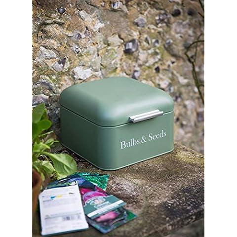Bombillas & Caja de almacenamiento para semillas jardín–revestido de polvo de acero–Verde, tapa con