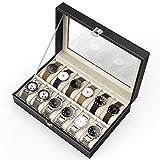 CRITIRON Boîte à Montres Bijoux avec12 Compartiments Présentoir/Boîte/Coffret à Montre Coffret de Rangement Noir Grande vitirne avec Serrure métale pour Fermer pour Tous Les Montres