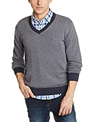 Indian terrain Mens Cotton Sweater (8907190509400_ITA15SWK235_Navy Melange_L_Long sleeve)