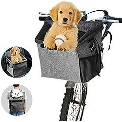 Transporteur animal de compagnie vélo,Sac de Transport pour Animal Domestique avec 2 Grandes Poches en Maille, transporteur avant vélo chien,Multifonction 3 en 1, pour Chienportatif et Respirant