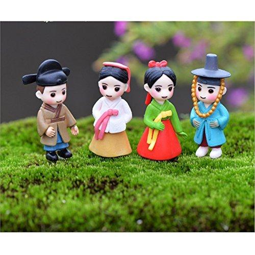 LU2000 asiatische Menschen Minifiguren Kleine Größe Mikro-Figuren Statue Koreanische Stil [Herbst Serie] für Mikro-Landschaft Schreibtisch Home Decoration Kleine Statue Mini Skulpturen Packung von 4 Asiatisches Bücherregal