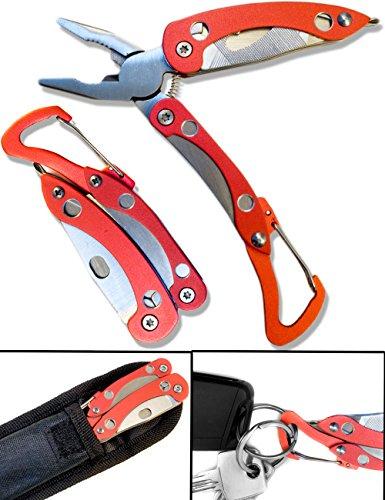 Preisvergleich Produktbild OUTDOOR SAXX - 6-in-1 Karabiner Werkzeug Fahrrad MultiTool für Schlüsselbund | Zange, Messer, Schraubendreher, Öffner, Karabiner | rot