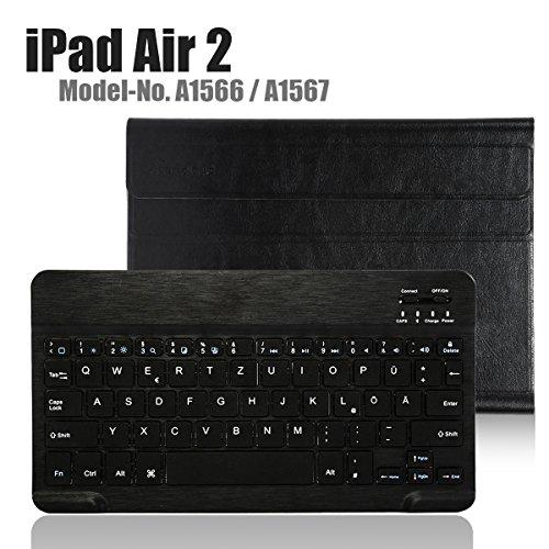 tsche Bluetooth Tastatur,CoastaCloud Ultra-Thin QWERTZ Deutsche Bluetooth Tastatur Keyboard Case für Apple ipad Air 2 (A1566 A1567 )Schwarz (Apple Keyboard Case Ipad 6)