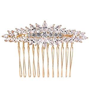 Ever Faith Damen Cubic Zirconia Elegant Braut Accessories Blatt Haarkamm Klar