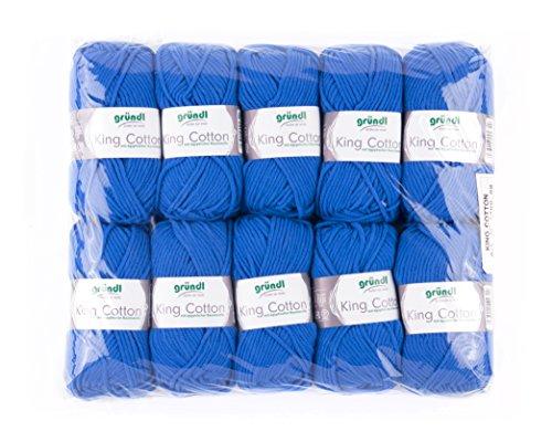Gründl King Cotton, 1 Paquet de 10 x 50 g Knäuel Fil tricoté à la Main 55% polyacrylique et 45% Coton égyptien, 28 x 31 x 7 cm, Bleu Roi, 28 x 31 x 7 cm
