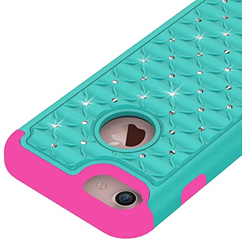 iPhone 7 hülle,Lantier Luxus verzierte Strass Kristallbling [Thin Fit][Tropfen Schutz] Hybrid Dual Layer Rüstung Defender Case für Apple iPhone 7 (4.7inch) 2016 Blau+Schwarz Cute Rhinestone Green + Hot Pink